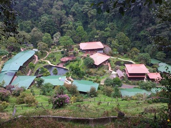 San Gerardo de Dota, Costa Rica: uitzicht op de Lodge vanaf de weg