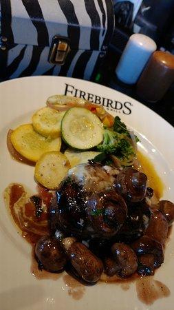 Alpharetta, GA: Filet Mignon with blue cheese sauce and burgundy mushrooms
