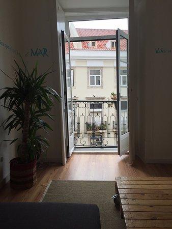 Lisbon Story Guesthouse : Mar apartment living room window/balcony
