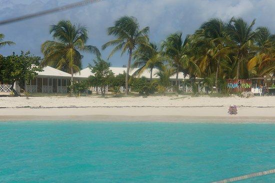 Simpson Bay, St. Maarten/St. Martin: looking at beach restaurant from Sugar Rush