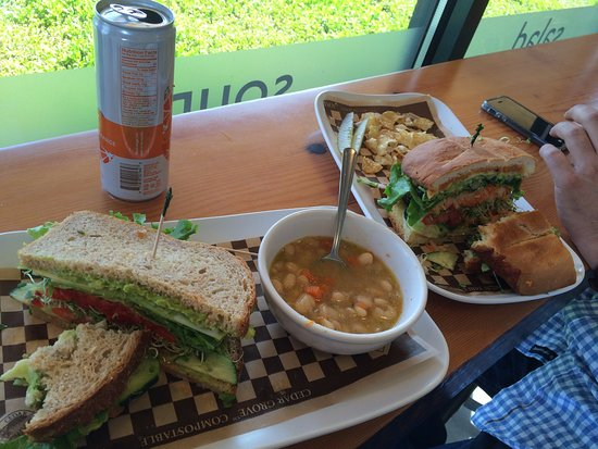 GRAZE: Torta and soup, chips and avocado sandwich