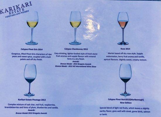Kaitaia, New Zealand: wine tasting menu