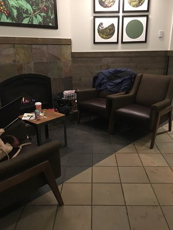 Fireplace & Comfy Chairs to Relax & Warm Up - Picture of Starbucks ...