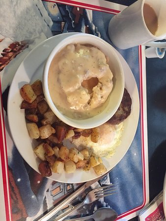 Woods Creek Cafe: Sampler No. 1, Biscuit with gravy, potatoes, sausage patty with one egg.