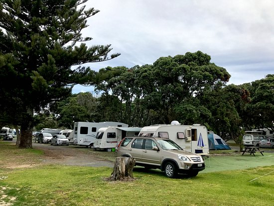 Orewa, Nouvelle-Zélande : Beach front campsites for an extra cost...worth it!