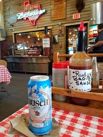 Spring, TX: Texas Busch Beer and Rudy's BBQ. Lethal combination