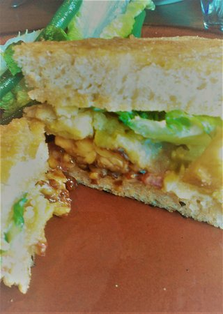 Millennium: Eggplant sandwich with fried pickled okra, white bean-garlic spread and pepper & olive relish $1