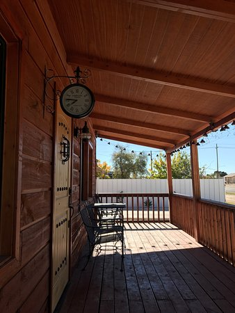 Fort Stockton, TX: A quiet deck to eat and unwind a bit before hitting the road again.