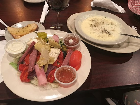Hillsborough, NC: Antipasto salad and clam chowder. Delicious!