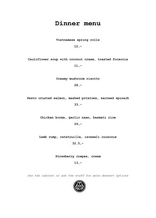 Omarama, New Zealand: This week's menu