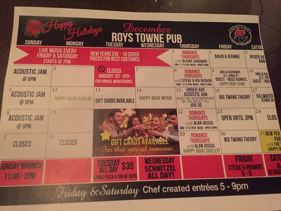 December calendar of events happening at Roy's Towne Pub, 4000 Island Hwy | Royston, Courtenay,