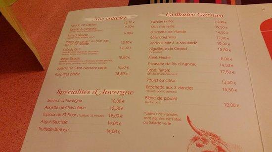 Saint-Flour, Francia: menu 1