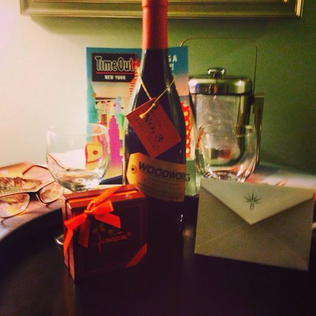 Hotel Beacon: Complimentary bottle of wine from the hotel for my bday