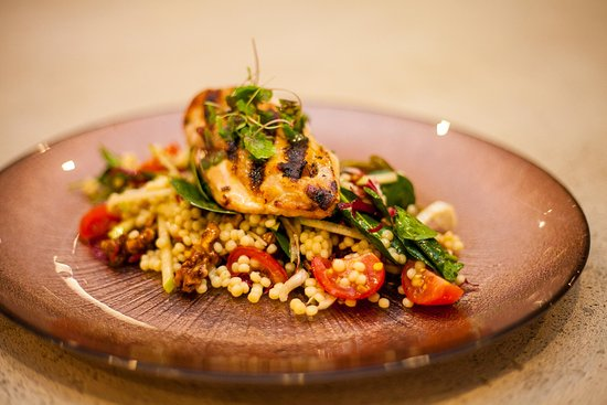 Wagga Wagga, Australia: Walnut and blue cheese stuffed chicken breast, served with pearl cous cous salad