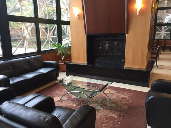 Rolling Meadows, IL: Nice lobby, with a gas fireplace. They have it on at night. There's a nice Christmas tree behind