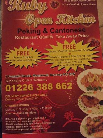 Mapplewell, UK: Ruby Open Kitchen