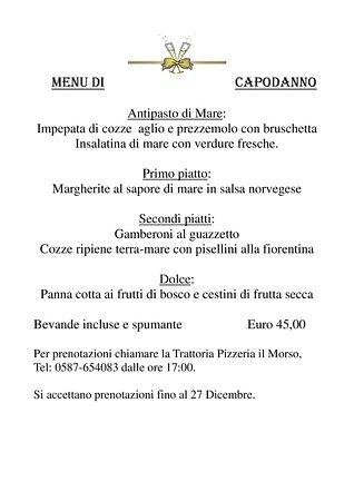 Terricciola, อิตาลี: Menù Capodanno 2016