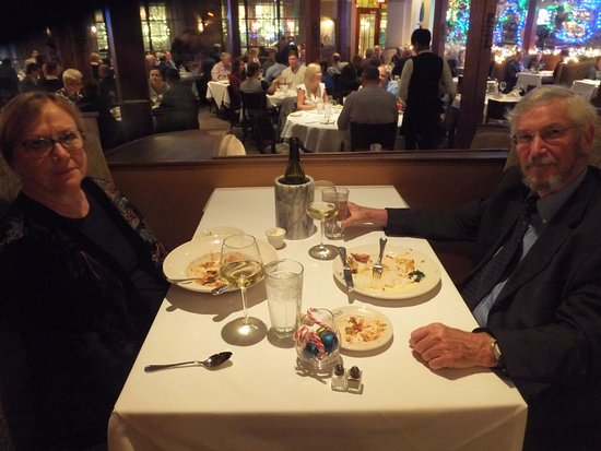 GW Fins: Me 'n MaryLynn on her birthday - best I could offer for dinner.