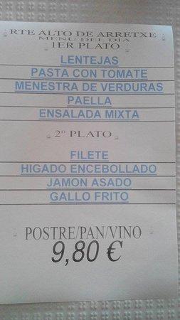 Irun, Spain: menu