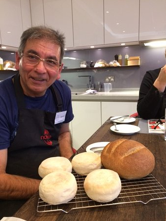 Langho, UK : Proud moment with well shaped and risen Coburg Loaf and English Muffins