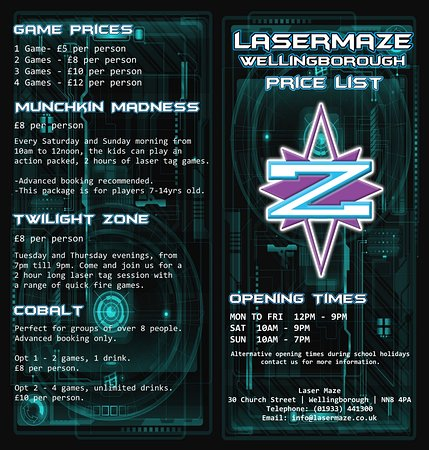 Wellingborough, UK: Laser Maze's sessions price list and contact details