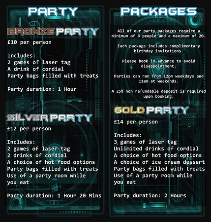 Wellingborough, UK: Laser Maze's Party Packages Price list