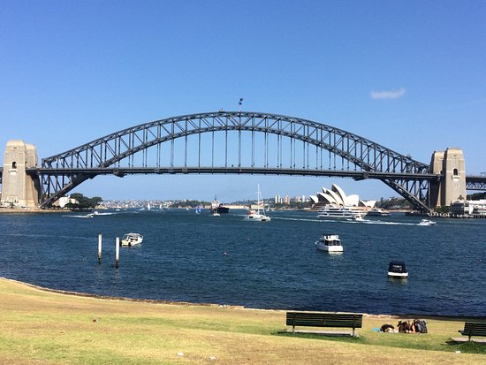 North Sydney, Australia: View from Sails on Lavender Bay, overlooking Sydney Harbour Bridge and Sydney Opera House