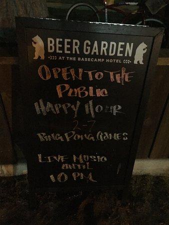 Basecamp South Lake Tahoe: Beer garden signage