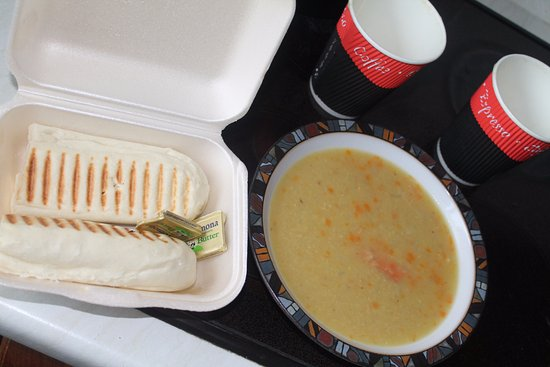 Coffee and Cream: Takeaway soup.