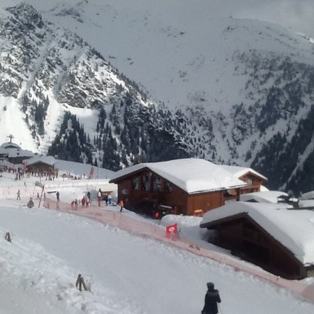 La Rosiere, France: View from balcony to ski lift