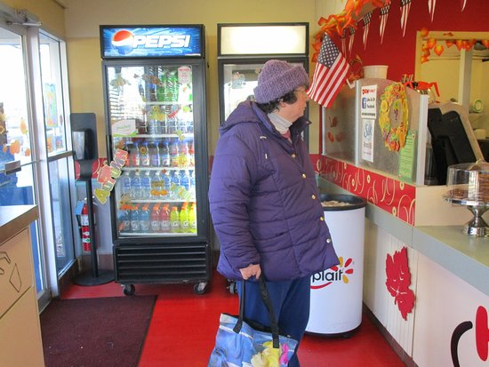 Cranston, RI: That is me inside Honey Dew Donuts.
