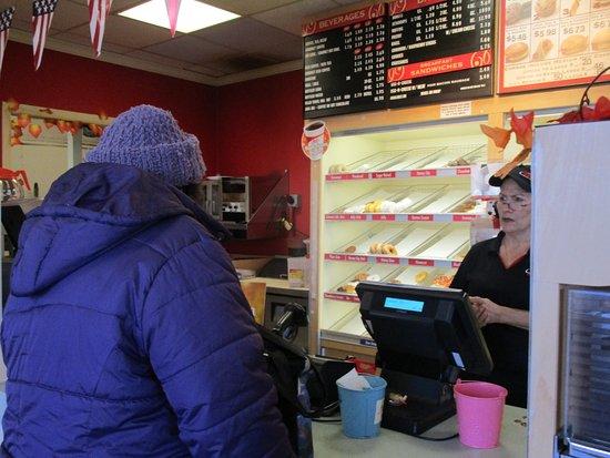 Cranston, RI: That is me inside Honey Dew Donuts,