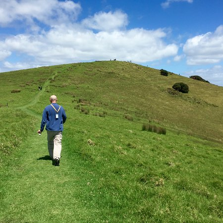 Paihia, New Zealand: Hiking up a hill at Urupukupuka