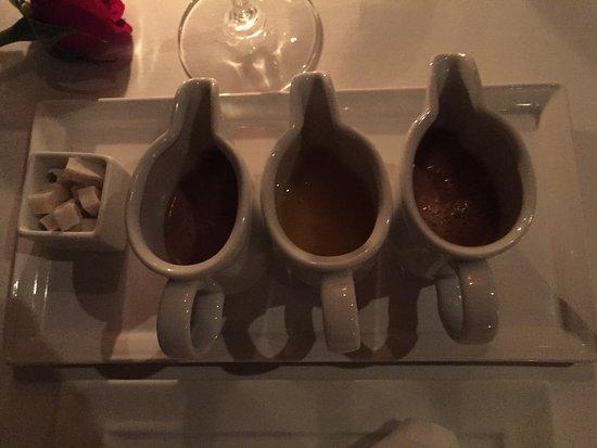 La Mer -  L'Aperitif: Coconut Nibs and Pabana, Jivara Chocolate and Salted Caramel Sauces