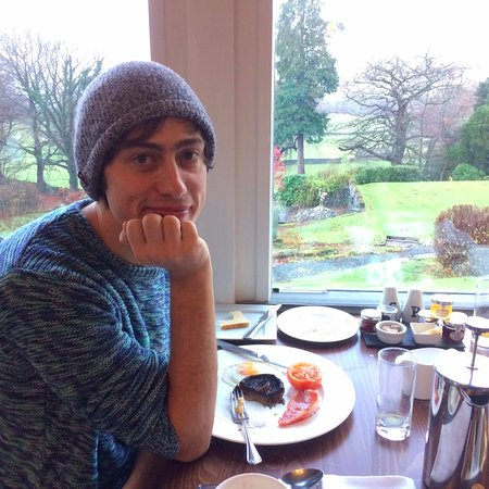 Near Sawrey, UK: The birthday boy enjoying breakfast and the pretty views