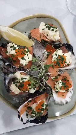 Euro Patisserie: fresh oysters topped with smoked salmon