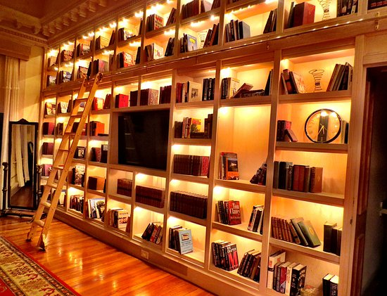 Pittsfield, MA: Floor-to-ceiling book cases with a real sliding ladder