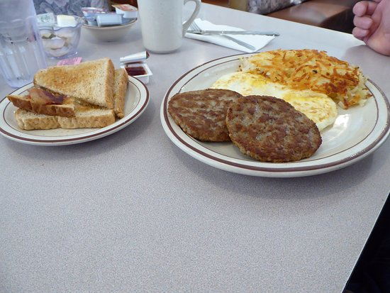 2 eggs, hashbrowns, sausage patties and wheat toast - Picture of Columbus  Family Restaurant - Tripadvisor