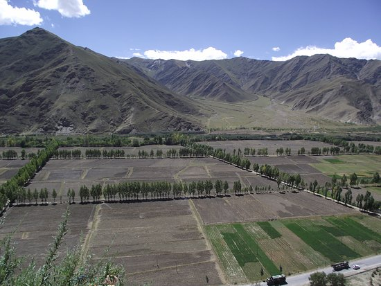 Nedong County, China: Views of tibetan fields from the top
