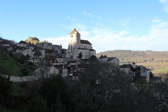 Saint-Cirq Lapopie, France : vue du restaurant