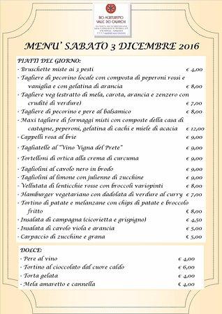 Castiglione in Teverina, Italien: Il buonissimo menù di sabato 3 Dicembre