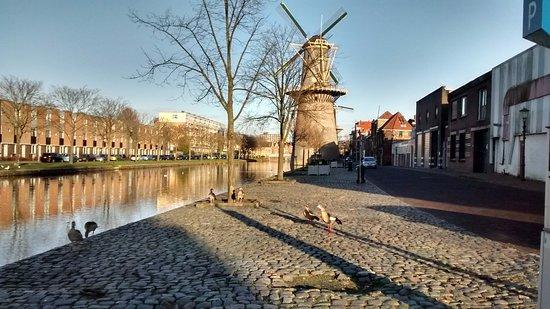 Schiedam, Países Bajos: Un moulin et son canal