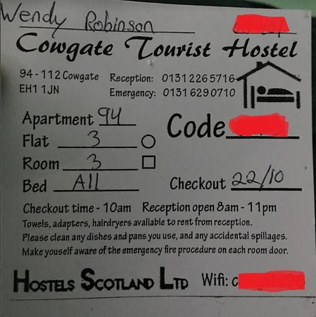 Cowgate Tourist Hostel: Info card you receive upon arrival