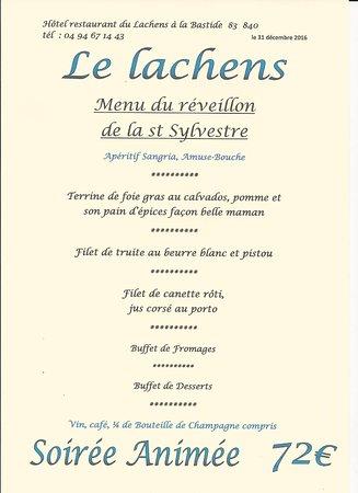 Hotel Du Lachens: Menu de la st Sylvestre