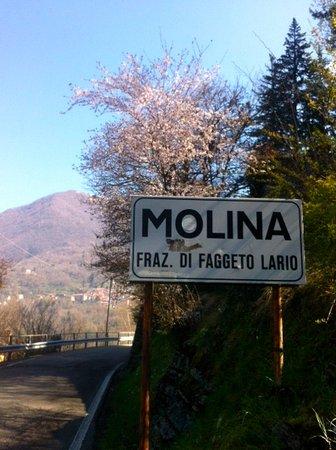 Molina di Faggeto Lario, Italy: indicazione stradale