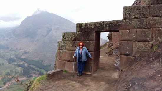 Pisaq, Peru: The typical trapezoid shaped Inca doorway, which resists against eartquake