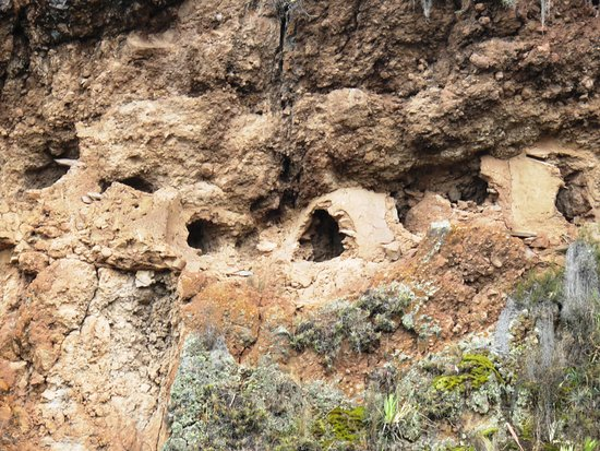 Pisaq, Peru: A few of the several thousands former tombs on the cliffwall