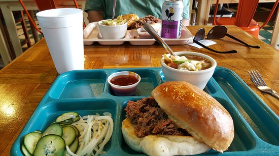 Harlingen, TX: Brisket on a perfectly toasted bun. Best bbq sauce on the side.