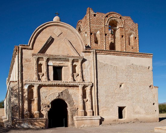 Front of Tumacacori on a sunny day (most days in Arizona ARE sunny).