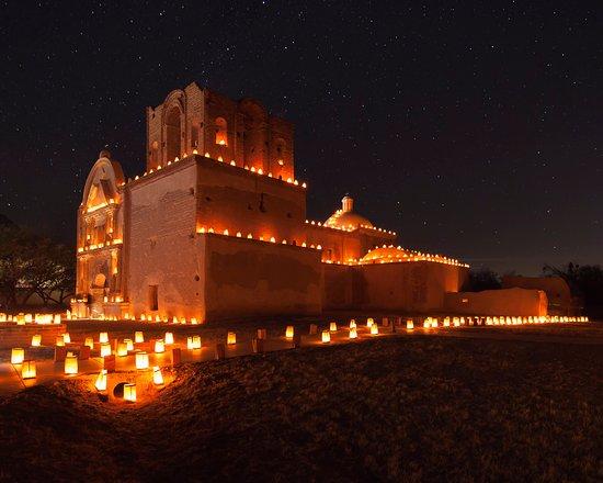Tumacacori with luminarias (Christmas Eve 2014).